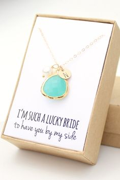 Mint Turquoise Green / Gold Bezel Charm Necklace  by ForTheMaids