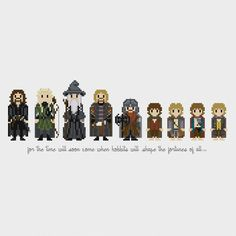 The Lord of the Rings: The Fellowship of the Ring (Aragorn, Legolas, Gandalf, Boromir, Gimli, Frodo, Samwise, Pippin, Merry) inspired cross stitch pattern PDF instant download includes: Full color, easy-to-read chart with color symbols and DMC thread legend Bonus: Cross-stitching