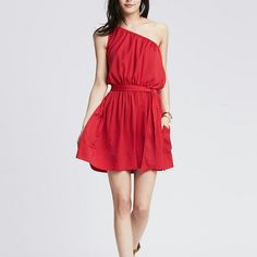 NWT Banana Republic Valentine Dress Silky, sexy, timeless red dress from Banana Republic. Brand new with original store tags. This is not factory. Purchased by me personally at a Banana Republic store near the Las Vegas Strip. Retails for $110. Sold out. Will be the perfect dress for date night and Valentine's Day. Silk like material that is fully lined. Elastic waistband and elastic neckline for custom and comfortable fit. This is a size small PETITE. Will fit regular with shorter hem…