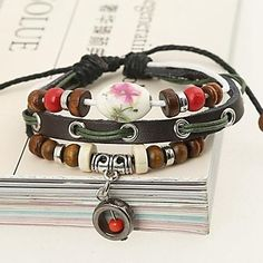 Women Vintage/Party/Casual Alloy/Leather Beaded/Leather/Braided/Cord Bracelet – USD $ 8.99