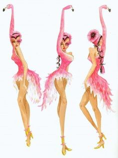 Flamingo costume drawing. Bird girls.