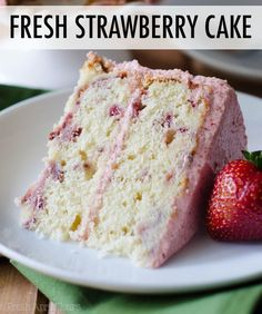 Soft and fluffy homemade strawberry cake made with fresh strawberries and topped with a creamy strawberry buttercream. Soft and fluffy homemade strawberry cake made with fresh strawberries and topped with a creamy strawberry buttercream. Strawberry Cake From Scratch, Homemade Strawberry Cake, Fresh Strawberry Cake, Strawberry Cake Recipes, Strawberry Birthday Cake, Recipes For Fresh Strawberries, Recipes With Fresh Strawberries, Summer Cake Recipes, Dried Strawberries