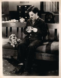 Charlie Chaplain drinking tea. #celebrities #tea