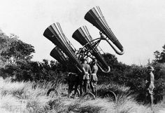 World War I Acoustic Locator American troops using a newly-developed acoustic locator, mounted on a wheeled platform. The large horns amplified distant sounds, monitored through headphones worn by a. World War One, First World, Rare Historical Photos, American Soldiers, Modern Warfare, Dieselpunk, Radios, Old Photos, Wwii