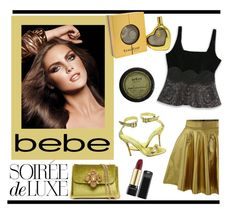 """""""Soirée de Luxe with bebe Holiday: Contest Entry"""" by veronica7777 ❤ liked on Polyvore featuring Bebe, Manolo Blahnik and Estée Lauder"""