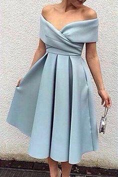 Blue Off-the-Shoulder A-line Midi Evening Dress satin short prom dresses