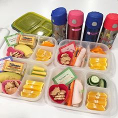 Lunch formula: protein + veggie + fruit + love. Containers are #EasyLunchboxes