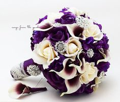 Bridal Bouquet Callas Purple Lavender Ivory Roses Rhinestones Hydrangea  Grooms Boutonniere More: www.coniefoxdress.com, #longpromdress