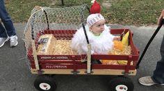 Chicken coop wagon for Halloween Farmer Halloween Costume, Baby Halloween Costumes Newborn, Toddler Girl Halloween, Baby First Halloween, Halloween Costumes For Girls, Halloween Kids, Halloween 2020, Baby Chicken Costume, Wagon Costume