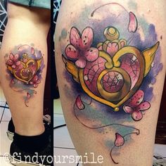 Super Sailor Moon's brooch watercolor tattoo! Done by Russel Van Schaick at Hart and Huntington Tattoo in Orlando, Florida.