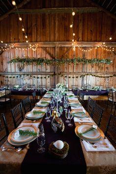 woodsy wedding reception, photo by Joseph + Jaime Photography http://ruffledblog.com/vintage-inspired-ontario-wedding #weddingreception #tablescapes
