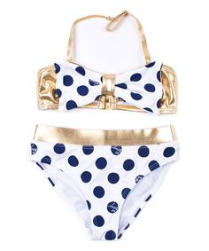 Take a look at this Betsey Johnson Kids White & Navy Polka-Dot Bikini - Toddler & Girls today! Polka Dot Bikini, Polka Dots, Tunic Leggings, Belted Shorts, White Belt, Swim Bottoms, Swim Top, Tween, Betsey Johnson