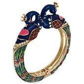 Betsey Johnson Bracelet, Gold-Tone Peacock Hinged Bangle Bracelet