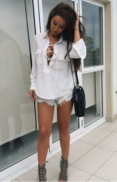 lace up details and cutoffs