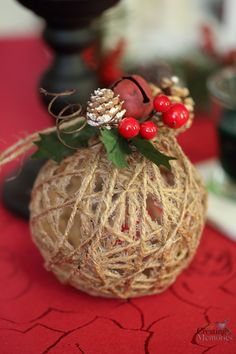 Set a Holiday Atmosphere + Twine Ball Ornament Tutorial How to Set The Holiday Atmosphere + Rustic Christmas Ornaments Tutorial Rustic Christmas Ornaments, Christmas Crafts To Make, Country Christmas Decorations, Homemade Christmas, Christmas Projects, Holiday Crafts, Christmas Holidays, Christmas Wreaths, Ornaments Ideas