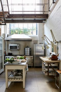 Industrial-Style Kitchen in Restored House on HOUSE. Stylish kitchen design for small city homes and grand country ones alike