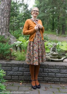 An autumn dress out of 3 patterns: Pauline Alice's Cami and Sew Over It Rosie dress and the Vintage Shirt Dress. My self-drafted collar finishes the dress. Dress Out, Shirt Dress, Brown Tights, Sew Over It, Mix N Match, Vintage Shirts, Cami, Hipster, Autumn