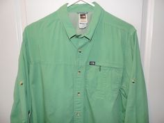 The North Face Classic Solid Green Long Sleeve Zipper Pocket Shirt SZ L EUC #TheNorthFace #ButtonFront