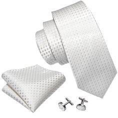 White Plaid Silk Men's Tie Hanky Cufflinks Set – ties2you