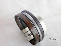 Bracelet cuir Homme Marron Brun Argenté fermoir Large manchette : Bijoux pour hommes par carline