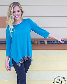 Check out this beautiful blue & Cheetah Top... Women's Casual Blue Top with Cheetah Lace Trim Accents (SM4223) $29.00, Loose Fit, S/M, M/L, and XL/XXL You can Order HERE:  http://www.mackieshaeboutique.com/apps/webstore/products/show/7247083