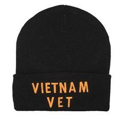 Embroidered Watch Cap - Vietnam Vet - Black