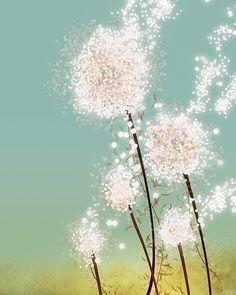 Fuzzy and floaty dandelions