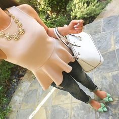 Saturday night casual outfit: mint bow flats, distressed denim jeans, peplum top, statement necklace, white purse - OOTD - Stylish Petite