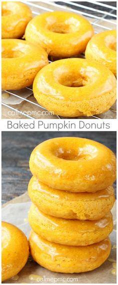 Baked Pumpkin Donuts with Caramel Glaze
