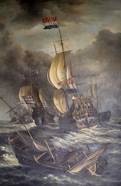 Our fabulous painting of Dutch warships, artist unknown