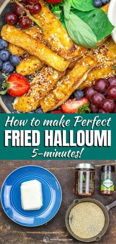 This recipe and tips is all you need to learn how to cook halloumi perfectly every time! Pan fried halloumi in olive oil is ready in 5 minutes and can be served with sweet or savory options! Check it out! Mediterranean Side Dish Recipe, Mediterranean Appetizers, Mediterranean Dishes, Mediterranean Diet Recipes, Baked Halloumi, Cooking Halloumi, Haloumi Cheese, Side Dish Recipes, Veggie Recipes