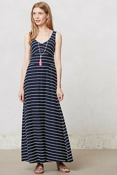 The length on this model is perfect. most women i see in maxis are wearing them too long! Scribble Stripe Maxi Dress #anthropologie