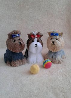 Knitted Yorkshire Terrier Hand Knitted dog Knitted Terrier