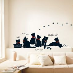 Add a wild and adorable life into your home with these very cute black cats #wall #decals. #stickers