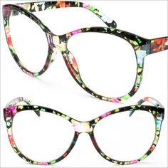 Clear Frame Flower Colorful Frame Cat Eye Eyeglasses UV400 Vintage Eyewear P9729