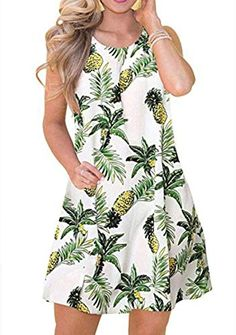 $14.99 XL Z-boluo  ZICUE Womens Sleeveless Summer Beach Dress T Shirt Simple Loose Sundress with Pockets Plus Size S-3XL ZICUE Modest Dresses Casual, Casual T Shirt Dress, Plus Dresses, Short Sleeve Dresses, Flowy Dresses, Simple Shirts, Necklines For Dresses, Beach Dresses, Summer Dresses For Women