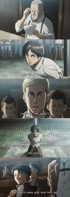 Not guilty, hot milky, Erwin Levi court scene