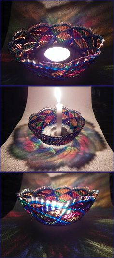 RichanaDragon ||| Rainbow whirl. Glass BOWL candle holder for mysterious rainbow colors light in night. Hand painted stained glass.