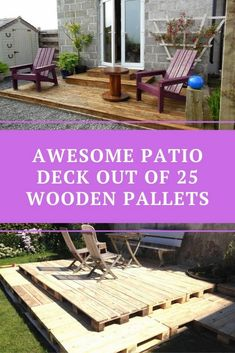 Awesome Patio Deck Out Of 25 Wooden Pallets - HomyBuzz Metal Deck, Small Terrace, Concrete Slab, Outdoor Decorations, Building A Deck, Wooden Pallets, Types Of Wood, Wood Blocks, Decorating Tips