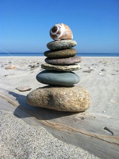 beach stone stack with shell photo by Michelle Munsey