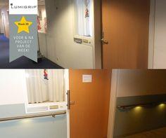Week 38 #leuning en deur grepen met #led verlichting bij een #verzorgingshuis #veilig #gelderland #Lumigrip