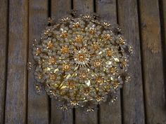 "Mid Century 60´s PALWA Gilt & Glass Flower Flushmount Ceiling Lamp ø ""17 #<"