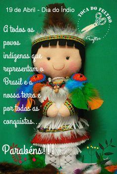 Boneca de feltro, Índia, Feliz Dia do Índio, felt