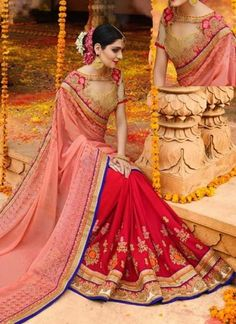 6a84f5f420b3a Pink Red Embroidery Work Silk Chinnon Designer Fancy Wedding Half Sarees  http://www