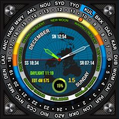 - Time Zone Daylight - watch face for Apple Watch, Samsung Gear Huawei Watch, and more - Facer Technology Wallpaper, Center Point, Huawei Watch, Clock Faces, Saving Time, Daylight Savings Time, Time Zones, Space Travel, Watch Faces