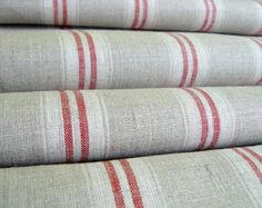 Pure  linen fabric with white and light gray natural by LINENstep