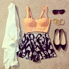 Love the high waisted shorts & the tri-flats go together very well :)