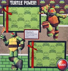 Teenage Mutant Ninja Turtles Boy 2 Premade Scrapbook Pages Paper Piecing Cherry | eBay