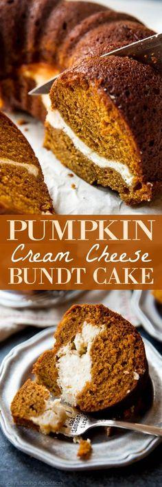 Pumpkin and cream cheese bundt cake is moist, FULL of flavor, and so easy to make! Recipe on sallysbakingaddiction.com