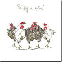 Poultry In Motion Greeting Card - Funny Chicken Card, Dancing Hens, Blank Inside #funny #humor #gage